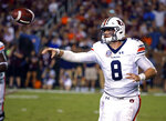 Auburn quarterback Jarrett Stidham (8) throws a pass against Mississippi State during the second half of their NCAA college football game in Starkville, Miss., Saturday, Oct. 6, 2018. Mississippi State won 23-9. (AP Photo/Rogelio V. Solis)