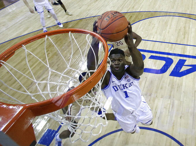 The Latest: Best bet: Duke is favored to win NCAA Tournament