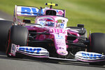 Racing Point driver Lance Stroll of Canada steers his car during the second practice session for the British Formula One Grand Prix at the Silverstone circuit in Silverstone, England, Friday, July 31, 2020. The British Formula One Grand Prix race will be held on Sunday. (Bryn Lennon/Pool via AP)