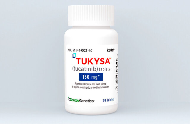 This photo provided by Seattle Genetics Inc., shows the  breast cancer drug Tukysa, developed by Seattle Genetics.  U.S. regulators on Thursday, April 14, 2020,  approved the new drug for an aggressive type of breast cancer that's spread in the body, including into the brain, where it's especially tough to treat.  (Seattle Genetics via AP)