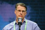 FILE - In this Feb. 25, 2020, file photo, Minnesota Vikings general manager Rick Spielman speaks during a press conference at the NFL football scouting combine in Indianapolis. The NFL Draft is April 23-25. (AP Photo/Charlie Neibergall, File)