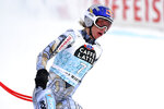 Czech Republic's Ester Ledecka arrives at the finish area after crashing during an alpine ski, women's World Cup downhill in Crans Montana, Switzerland, Saturday, Jan. 23, 2021.(AP Photo/Marco Tacca)
