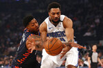 Orlando Magic center Khem Birch, right, is fouled by New York Knicks guard Elfrid Payton, left, during the first half of an NBA basketball game Thursday, Feb. 6, 2020, in New York. (AP Photo/Michael Owens)