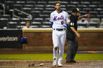New York Mets' Jeff McNeil (6) reacts after striking out during the eighth inning of a baseball game against the St. Louis Cardinals Monday, Sept. 13, 2021, in New York. The Cardinals won 7-0. (AP Photo/Frank Franklin II)