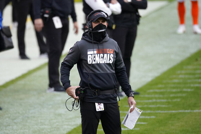 Cincinnati Bengals head coach Zac Taylor on the sidelines during the second half of an NFL football game against the Washington Football Team, Sunday, Nov. 22, 2020, in Landover. (AP Photo/Al Drago)