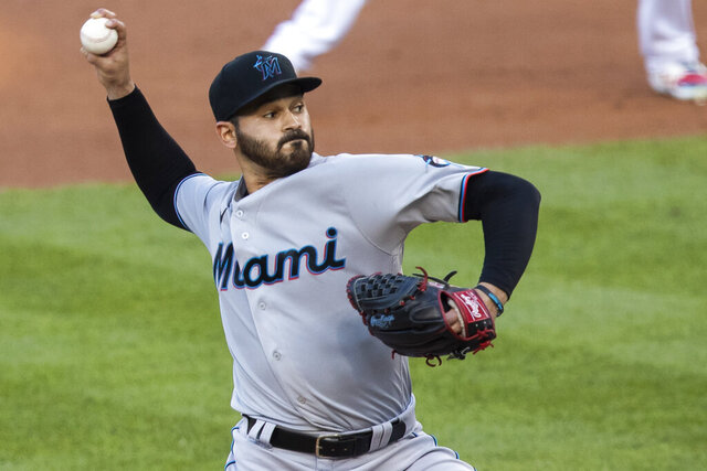 Miami Marlins starting pitcher Pablo Lopez throws during the first inning of a baseball game against the Washington Nationals in Washington, Monday, Aug. 24, 2020. (AP Photo/Manuel Balce Ceneta)
