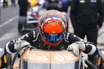 Rinus VeeKay, of the Netherlands, climbs into his car during the final practice session for the Indianapolis 500 auto race at Indianapolis Motor Speedway, Friday, May 28, 2021, in Indianapolis. (AP Photo/Darron Cummings)
