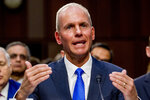 Boeing Company President and Chief Executive Officer Dennis Muilenburg testified before a Senate Transportation Committee hearing on 'Aviation Safety and the Future of Boeing's 737 MAX' on Capitol Hill in Washington, Tuesday, Oct. 29, 2019. (AP Photo/Andrew Harnik)