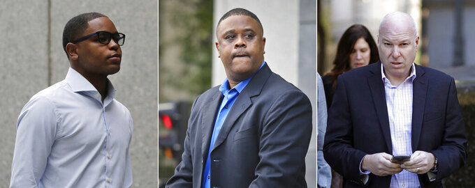 FILE - At left, in an Oct. 1, 2018, file photo, Christian Dawkins arrives at federal court in New York. At center, in an Oct. 24, 2018, file photo, former amateur basketball league director Merl Code leaves federal court in New York. At right, in an Oct. 18, 2018, file photo, former Adidas executive James Gatto arrives at federal court in New York.  Federal prosecutors have recommended multiyear prison sentences for three men convicted of fraud for channeling secret payments to the families of top-tier basketball recruits to influence where the players went to school. Former Adidas executive James Gatto, business manager Christian Dawkins and amateur league director Merl Code were convicted of conspiracy to commit wire fraud in October for funneling recruits to Louisville, Kansas and North Carolina State. On Wednesday, Feb. 27, 2019, prosecutors in the Southern District of New York recommended a sentence of 46 to 57 months for Gatto and 30 to 37 months in prison for Code and Dawkins. They are scheduled to be sentenced next week. (AP Photo/File)
