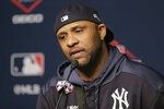 New York Yankees pitcher CC Sabathia answers questions during a news conference before Game 5 of baseball's American League Championship Series against the Houston Astros, Friday, Oct. 18, 2019, in New York. (AP Photo/Seth Wenig)