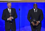 Larry Bird, left, and Magic Johnson accept lifetime achievement awards at the NBA Awards on Monday, June 24, 2019, at the Barker Hangar in Santa Monica, Calif. (Photo by Chris Pizzello/Invision/AP)