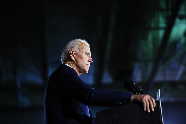 FILE - In this Feb. 29, 2020, file photo Democratic presidential candidate former Vice President Joe Biden speaks at a primary night election rally in Columbia, S.C. (AP Photo/Matt Rourke, File)