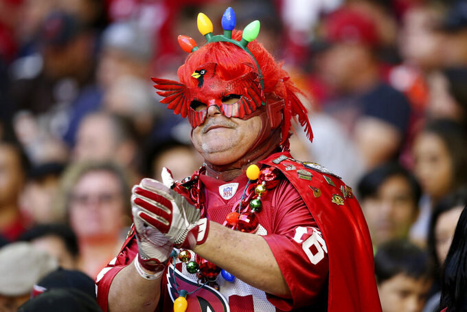 An Arizona Cardinals fan cheers during the first half of an NFL football game against the Cleveland Browns, Sunday, Dec. 15, 2019, in Glendale, Ariz. (AP Photo/Ross D. Franklin)