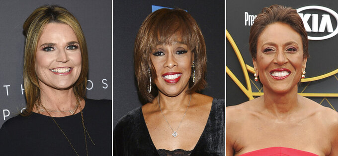 """In this combination photo, """"Today"""" host Savannah Guthrie, from left, attends The Hollywood Reporter's annual Most Powerful People in Media cocktail reception on April 11, 2019, in New York, """"CBS This Morning"""" host Gayle King attends """"Tina - The Tina Turner Musical"""" Broadway opening night on Nov. 7, 2019, in New York and """"Good Morning America"""" host Robin Roberts arrives at the NBA Awards on June 24, 2019, in Santa Monica, Calif. The pandemic has been rough on the broadcast morning shows, so they're looking to make themselves valuable to consumers during other parts of the day. (AP Photo)"""
