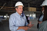 Republican U.S. Sen. Steve Daines, of Montana, speaks at a manufacturing facility under construction in Bozeman, Mont., on Sept. 2, 2020. Daines is facing a challenge for his seat from Gov. Steve Bullock in the Nov. 3, 2020, election. (AP Photo/Matthew Brown)