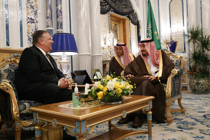 U.S. Secretary of State Mike Pompeo, left, meets with King Salman, right, at Al Salam Palace in Jeddah, Saudi Arabia, Monday, June 24, 2019.  Pompeo is conducting consultations during a short tour of the Middle East, including visits to Saudi Arabia and United Arab Emirates. (AP Photo/Jacquelyn Martin, Pool)
