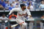 Detroit Tigers' Willi Castro watches hi home run during the third inning of the team's baseball game against the Kansas City Royals at Kauffman Stadium in Kansas City, Mo., Friday, July 23, 2021. (AP Photo/Colin E. Braley)