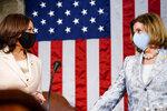 Vice President Kamala Harris, left, House Speaker Nancy Pelosi of Calif., arrive ahead of President Joe Biden speaking to a joint session of Congress, Wednesday, April 28, 2021, in the House Chamber at the U.S. Capitol in Washington. (Melina Mara/The Washington Post via AP, Pool)