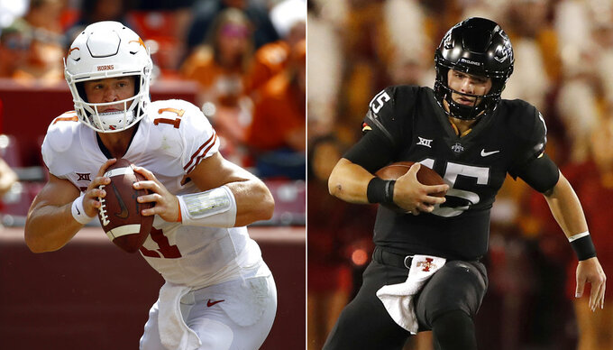 FILE - At left, in a Sept. 1, 2018, file photo, Texas quarterback Sam Ehlinger looks for a receiver in the first half of an NCAA college football game against Maryland, in Landover, Md. At right, in an Oct. 13, 2018, file photo, Iowa State quarterback Brock Purdy (15) runs against West Virginia during the first half of an NCAA college football game, in Ames, Iowa. No. 18 Iowa State (6-3, 5-2 Big 12) at No. 13 Texas (7-3, 5-2). The winner will still be in contention for a spot in the Big 12 title game and the loser would be eliminated if conference co-leaders No. 6 Oklahoma and No. 7 West Virginia both win Saturday. (AP Photo/File)