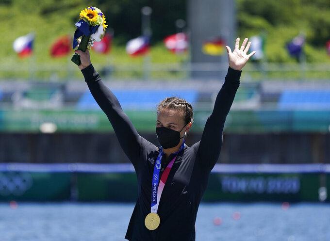 Lisa Carrington of New Zealand reacts after winning the women's kayak single 200m final at the 2020 Summer Olympics, Tuesday, Aug. 3, 2021, in Tokyo, Japan. (AP Photo/Darron Cummings)