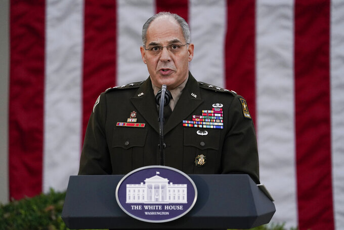 """FILE - In this Nov. 13, 2020, file photo Army Gen. Gustave Perna, who is leading Operation Warp Speed,speaks during at an event in the Rose Garden of the White House in Washington. The Army general in charge of getting COVID-19 vaccines across the United States apologized on Saturday, Dec. 19, for """"miscommunication"""" with states over the number of doses to be delivered in the early stages of distribution. """"I failed. I'm adjusting. I am fixing and we will move forward from there,"""" Perna told reporters in  telephone briefing. (AP Photo/Evan Vucci, File)"""