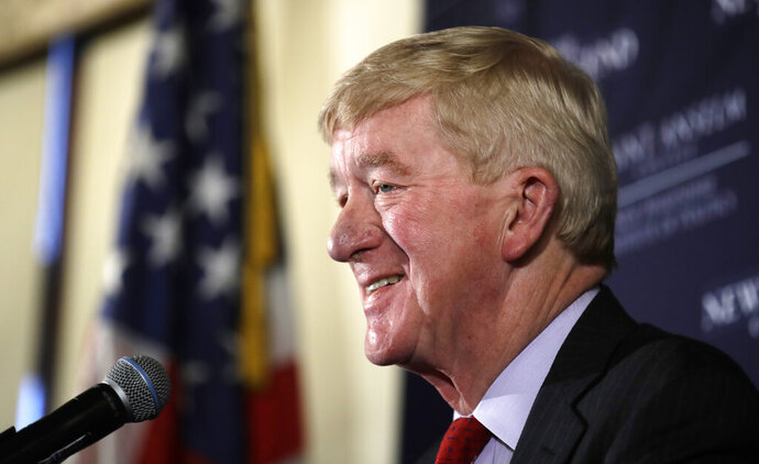 FILE - In this Feb. 15, 2019 file photo, Democratic presidential candidate, former Massachusetts Gov. William Weld, speaks during a New England Council