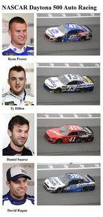 In these photos taken in February 2019, qualifying drivers and their cars in the starting field for Sunday's NASCAR Daytona 500 auto race are shown at Daytona International Speedway in Daytona Beach, Fla. They are, from top, Row 11, Ryan Preece, Ty Dillon, Row 12, Daniel Suarez and David Ragan. (AP Photo)