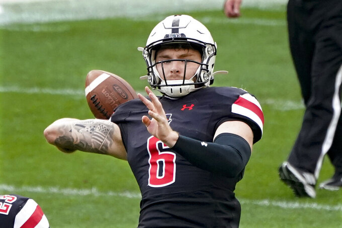 Austin Peay quarterback Jeremiah Oatsvall (6) passes against Pittsburgh during the first half of an NCAA college football game, Saturday, Sept. 12, 2020, in Pittsburgh. (AP Photo/Keith Srakocic)