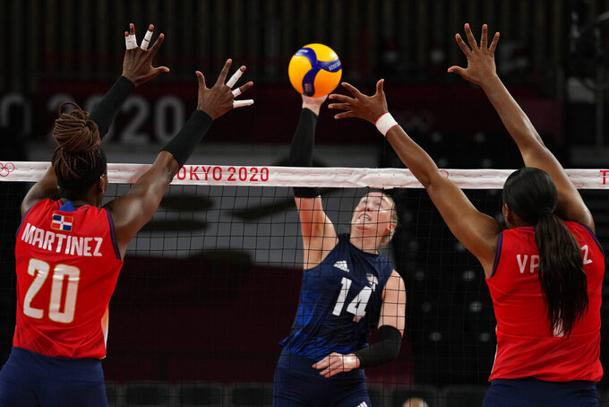 United States' Michelle Bartsch-Hackley hits the ball during the women's volleyball quarterfinal match between Dominican Republic and United States at the 2020 Summer Olympics, Wednesday, Aug. 4, 2021, in Tokyo, Japan. (AP Photo/Frank Augstein)