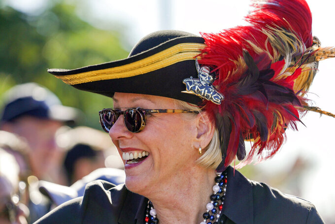 "FILE - In this Jan. 25, 2020, file photo, Tampa Mayor Jane Castor, smiles while greeting people during the Gasparilla Parade of Pirates in Tampa, Fla. Castor is poking fun at last week's attention-grabbing incident involving NFL superstar Tom Brady. Tampa didn't exactly give Brady the best of welcomes when he was ejected from a downtown park while working out last Monday. In a letter posted on social media, the mayor apologized ""for the miscommunication,"" saying her previous law enforcement background prompted her to ""investigate the sighting of a G.O.A.T running wild in one of our beautiful city parks."" (Martha Asencio Rhine/Tampa Bay Times via AP, File)"