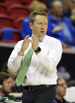 Colorado State head coach Niko Medved instructs his team during the second half of an NCAA college basketball game against Boise State in the Mountain West Conference tournament Wednesday, March 13, 2019, in Las Vegas. (AP Photo/Isaac Brekken)