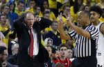 Wisconsin head coach Greg Gard reacts after a call the first half of an NCAA college basketball game against Michigan, Saturday, Feb. 9, 2019, in Ann Arbor, Mich. (AP Photo/Carlos Osorio)