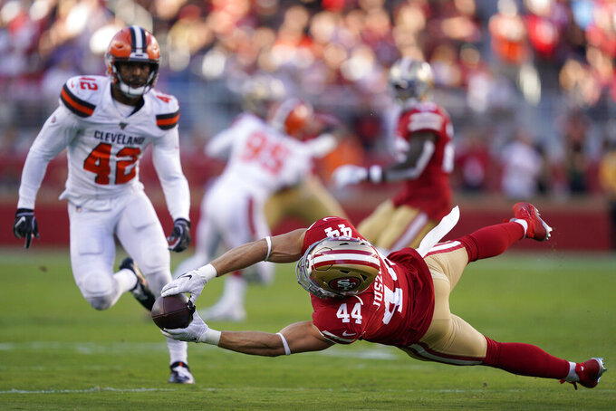 San Francisco 49ers fullback Kyle Juszczyk (44) cannot catch a pass in front of Cleveland Browns strong safety Morgan Burnett (42) during the first half of an NFL football game in Santa Clara, Calif., Monday, Oct. 7, 2019. (AP Photo/Tony Avelar)