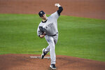 New York Yankees starting pitcher Jordan Montgomery throws to a Toronto Blue Jays batter during the first inning of a baseball game in Buffalo, N.Y., Thursday, Sept. 24, 2020. (AP Photo/Adrian Kraus)