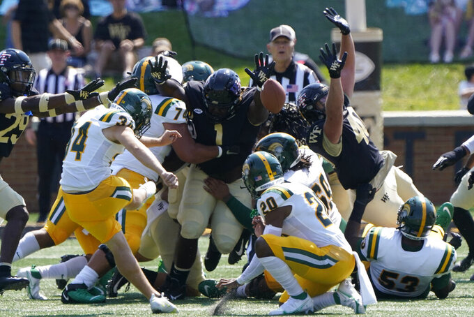 Norfolk State place kicker Josh Nardone kicks a field goal against the Wake Forest during the first half of a NCAA college football game Saturday, Sept. 11, 2021, in Winston-Salem, N.C. (AP Photo/Chris Carlson)