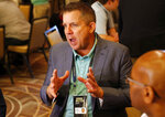 New Orleans Saints head coach Sean Payton speaks to the media during the NFC/AFC coaches breakfast during the annual NFL football owners meetings, Tuesday, March 26, 2019, in Phoenix. (AP Photo/Matt York)