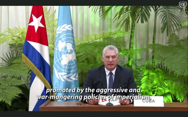 In this image made from UNTV video, Cuban President Miguel Diaz-Canel speaks in a pre-recorded message which was played during the 75th session of the United Nations General Assembly, Tuesday, Sept. 22, 2020, at U.N. headquarters in New York. The U.N.'s first virtual meeting of world leaders started Tuesday with pre-recorded speeches from some of the planet's biggest powers, kept at home by the coronavirus pandemic that will likely be a dominant theme at their video gathering this year. (UNTV via AP)