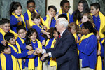 Vice President Mike Pence greets students before speaking on Tuesday Jan. 28, 2020 in Madison, Wis. to deliver remarks at the Wisconsin School Choice Student Showcase at the Wisconsin State Capitol. (Steve Apps/Wisconsin State Journal via AP)