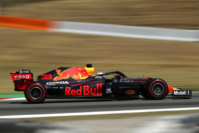 Red Bull driver Max Verstappen of the Netherlands steers his car during a practice session prior to the Formula One Grand Prix at the Barcelona Catalunya racetrack in Montmelo, Spain, Saturday, Aug. 15, 2020. (Albert Gea, Pool via AP)