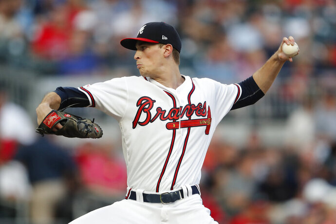 Atlanta Braves starting pitcher Max Fried works against the Washington Nationals during the first inning of a baseball game Thursday, Sept. 5, 2019, in Atlanta. (AP Photo/John Bazemore)