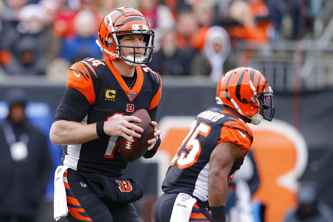 Cincinnati Bengals quarterback Andy Dalton (14) looks to pass in the first half of an NFL football game against the New England Patriots, Sunday, Dec. 15, 2019, in Cincinnati. (AP Photo/Gary Landers)