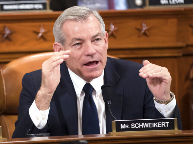 FILE - In this Nov. 8, 2017, file photo, Rep. David Schweikert, R-Ariz., makes a point during a House Ways and Means Committee hearing on Capitol Hill in Washington. Arizona Democrats are targeting one of four solidly Republican U.S. House districts with a polished candidate who has a big fundraising edge against the GOP incumbent. Although the party makeup of Arizona's congressional delegation has been remarkably stable for the past decade, Democrats hope to change that this year with Dr. Hiral Tipirneni, who is challenging five-term Schweikert in the suburban 6th District that takes in much of north Phoenix, Paradise Valley, Scottsdale and Fountain Hills. (AP Photo/J. Scott Applewhite, File)