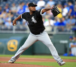 Chicago White Sox starting pitcher Ivan Nova delivers to a Kansas City Royals batter during the first inning of a baseball game at Kauffman Stadium in Kansas City, Mo., Wednesday, July 17, 2019. (AP Photo/Orlin Wagner)