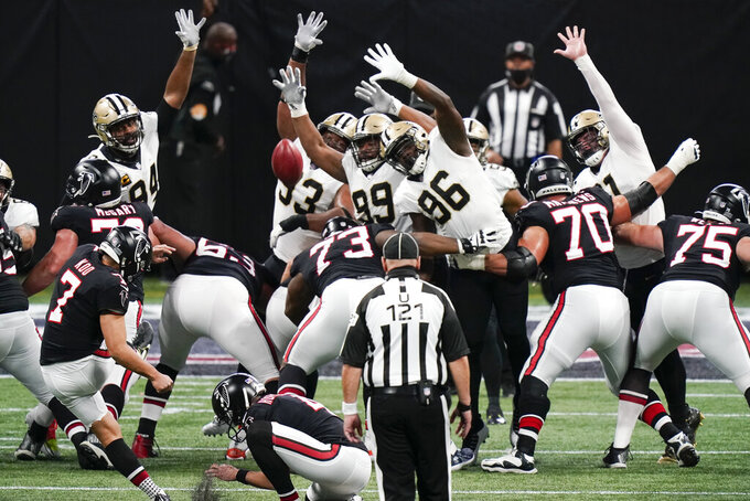 Atlanta Falcons kicker Younghoe Koo (7) of South Korea, kicks a field goal against the New Orleans Saints during the first half of an NFL football game, Sunday, Dec. 6, 2020, in Atlanta. (AP Photo/Brynn Anderson)