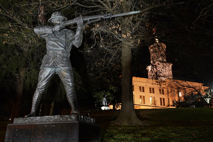 FILE - In this March 16, 2021 file photo, the statue of World War I hero Sgt. Alvin C. York stands on the grounds of the Tennessee State Capitol  in Nashville, Tenn.  University Press of Kentucky director Ashley Runyon outlined plans for the potential corrections and revisions to Sen. Doug Mastriano's book in emails Tuesday, Sept. 7,  to The Associated Press and to another researcher looking into York's 1918 acts of heroism while fighting in France.  (AP Photo/Mark Humphrey, File)