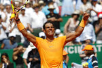 Spain's Rafael Nadal celebrates after defeating Bulgaria's Gregor Dimitrov in their semifinal singles match of the Monte Carlo Tennis Masters tournament in Monaco, Saturday April 21, 2018. (AP Photo/Christophe Ena)