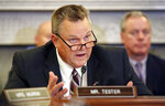 FILE - In this Wednesday, Sept. 26, 2018 file photo, Ranking Member Sen. Jon Tester, D-Mont., speaks during a hearing of the Senate Committee on Veterans' Affairs, on Capitol Hill, in Washington, D.C. Political observers say a key factor in deciding the outcome of Montana's high-profile Senate race will be whether independent women who voted for Donald Trump in 2016 stick with the president and support Republican Senate candidate Matt Rosendale this year. Democratic leaders and advocacy groups say women are highly motivated to vote in the Nov. 6 election with absentee ballots being mailed out on Friday, Oct. 12, 2018. Photo/Alex Brandon, File)