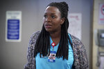 This image released by CBS shows Folake Olowofoyeku as Abishola in a scene from