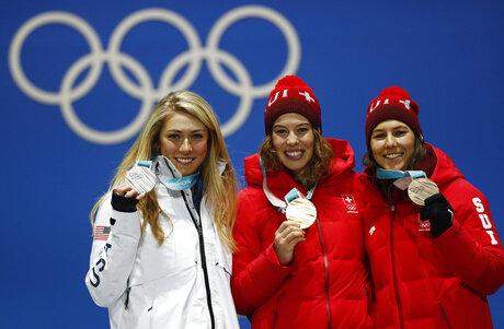 Pyeongchang Olympics Medals Ceremony Alpine Skiing Women