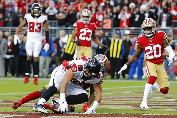 Atlanta Falcons tight end Austin Hooper (81) cannot catch a pass in the end zone against San Francisco 49ers defensive back Marcell Harris during the second half of an NFL football game in Santa Clara, Calif., Sunday, Dec. 15, 2019. (AP Photo/Josie Lepe)